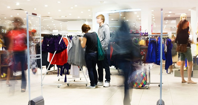 5067773 - shoppers at shopping center, motion blur